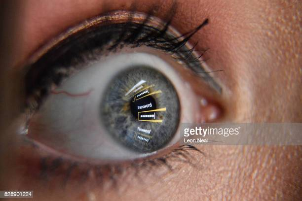 In this photo illustration an image of a password login dialog box is reflected on the eye of a young woman on August 09 2017 in London England With...