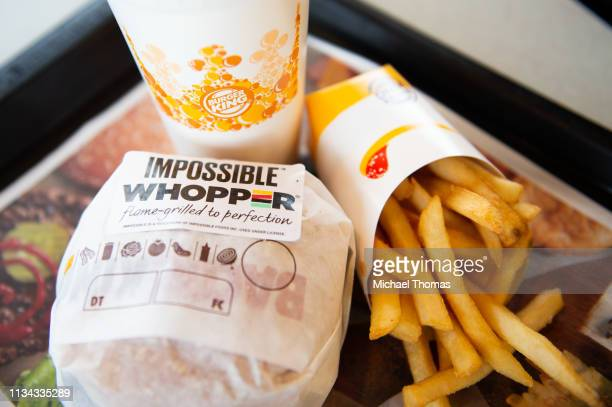 In this photo illustration an 'Impossible Whopper' sits on a table at a Burger King restaurant on April 1 2019 in Richmond Heights Missouri Burger...