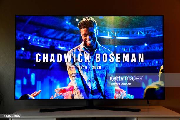 In this photo illustration, an In Memoriam for Chadwick Boseman, viewed on a television screen, is seen during the 2020 MTV Video Music Awards...