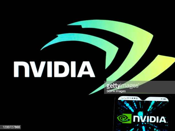 In this photo illustration, an NVIDIA Corporation logo seen displayed on a smartphone.