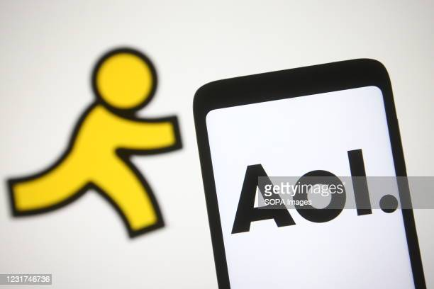 In this photo illustration, AOL logo is seen on a smartphone screen.