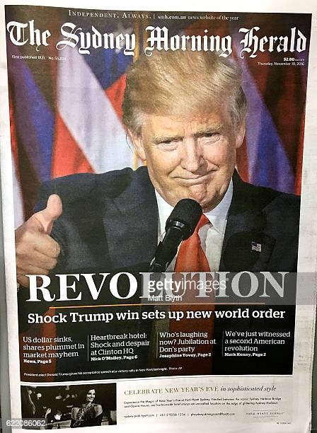 In this photo illustration Australian newspaper The Sydney Morning Herald with the cover headline reading ''REVOLUTION' Shock Trump win sets up new...