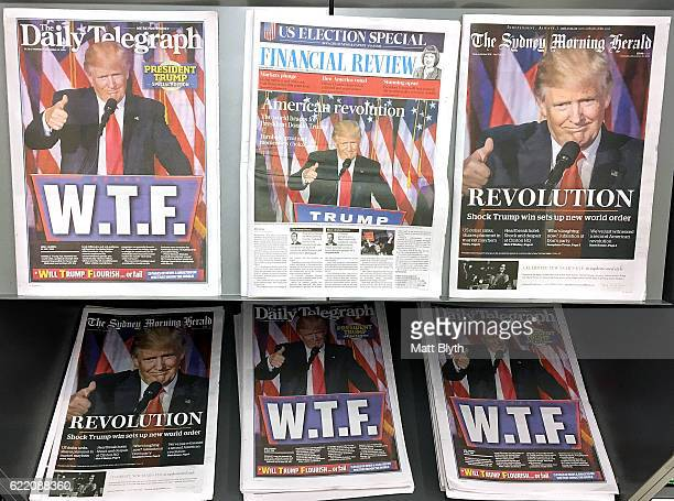 In this photo illustration Australian newspapers The Daily Telegraph The Sydney Morning Herald and the Financial Review are on display with cover...