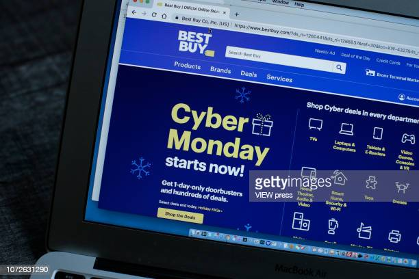 In this photo illustration, Best Buy advertises Cyber Monday sales on its company websites on November 26, 2018 in Guttenberg, New Jersey. Americans...