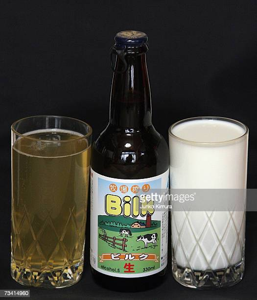 In this photo illustration Bilk, a beer made from milk has a glass of milk placed alongside it February 25, 2007 in Tokyo, Japan. A liquor shop named...