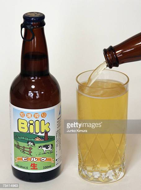 In this photo illustration Bilk a beer made from milk is poured into a glass on February 25 2007 in Tokyo Japan A liquor shop named Nakahara on the...