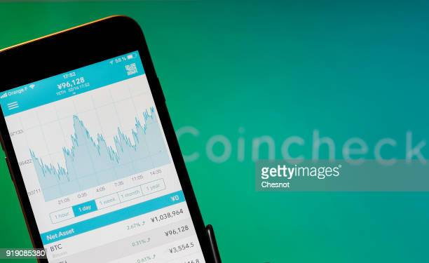 In this photo illustration Bitcoin course's graph is seen on the Coincheck cryptocurrency exchange application on February 16 2018 in Paris France...