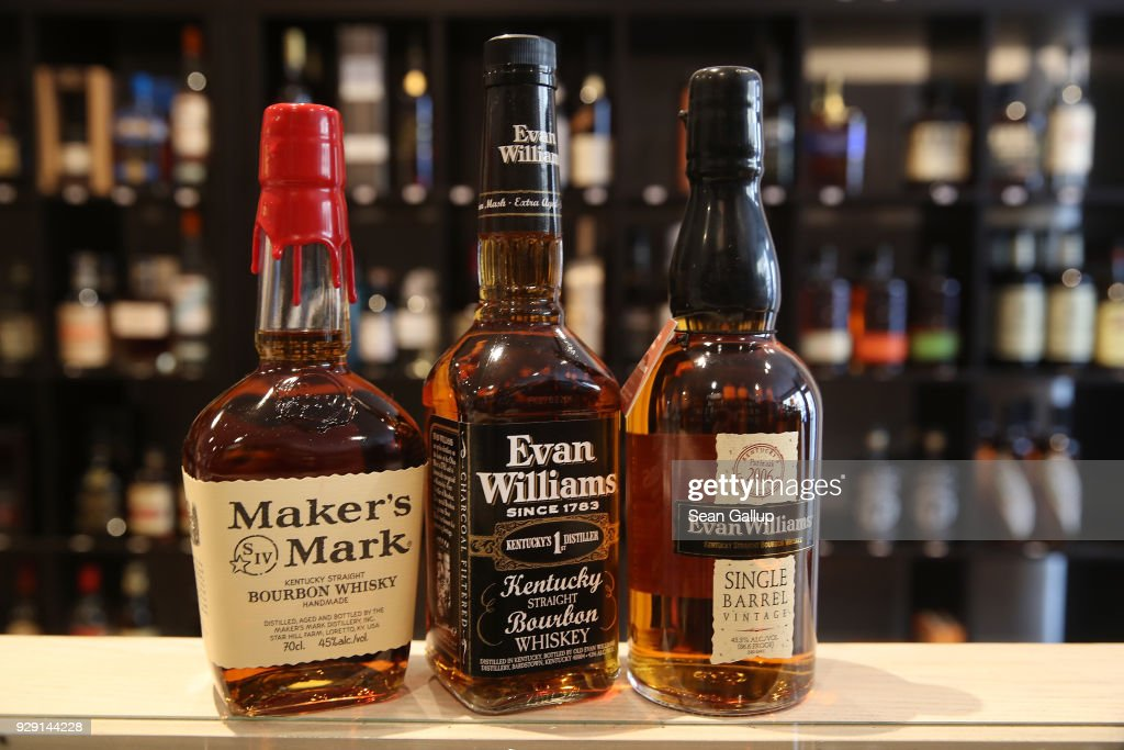 In this photo illustration bottles of American bourbon whiskey stand arranged at a whiskey shop on March 8, 2018 in Berlin, Germany. U.S. President Donald Trump has promised to authorize tariffs on imported steel and aluminum today and the European Commission has vowed to retaliate with tariffs on Levi's jeans, Kentucky bourbon and Harley-Davidson motorcycles. Many analysts fear the tariffs could escalate and hence cost jobs on both sides of the Atlantic. The European Union and Canada are the world's biggest exporters of steel to the United States.