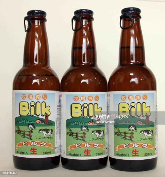 In this photo illustration bottles of Bilk, a beer made from milk, are pictured on February 25, 2007 in Tokyo, Japan. A liquor shop named Nakahara,...