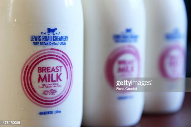 In this photo illustration, bottles of the red label Lewis Road Creamery 1.5 litre milk are seen on June 10, 2015 in Auckland, New Zealand....