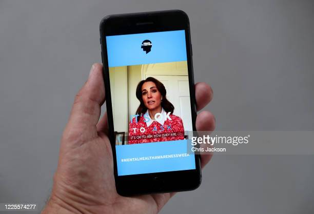 In this photo illustration Catherine Duchess of Cambridge takes part in a Heads together Mental Health broadcast on May 18 2020 in London England The...