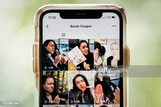 In this photo illustration, comedian Sarah Cooper's page is displayed on the TikTok app is displayed on an Apple iPhone on August 7, 2020 in...