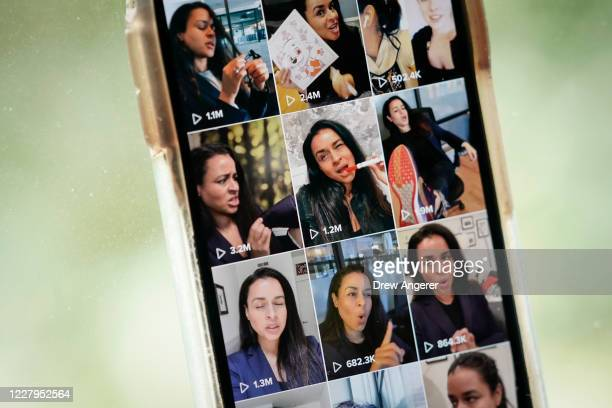 In this photo illustration, comedian Sarah Cooper's page is displayed on the TikTok app on an Apple iPhone on August 7, 2020 in Washington, DC. On...