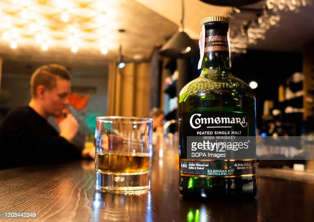 In this photo illustration Connemara 12 Year Old Peated Irish Whiskey at Rooster Grill Bar