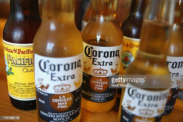 In this photo illustration Corona and Pacifico beer are shown on June 7 2013 in Chicago Illinois Constellation Brands one of the world's largest wine...