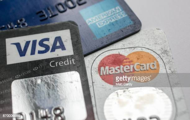 In this photo illustration credit debit cards are seen on November 3 2017 in Bristol England The Bank of England raised interest rates from a...