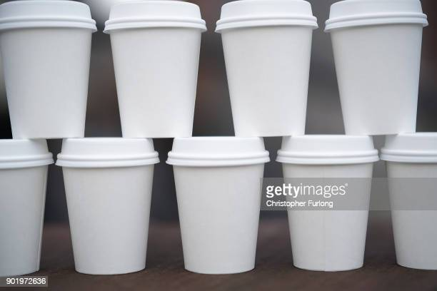 In this photo illustration disposable coffee cups are stacked on a table on January 05 2018 in Manchester England Some members of the UK Parliament...