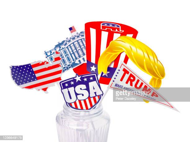 In this photo illustration, Donald Trump supporters election material for the USA 2020 presidential election photographed on July 17,2020 in...