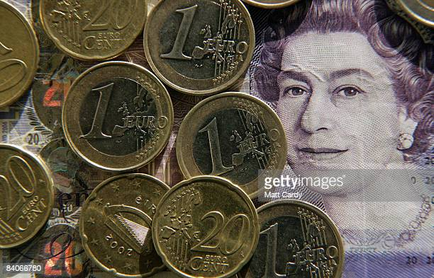 In this photo illustration Euro coins are seen by a 20 GBP note on December 17 2008 in Bristol England The British pound is currently at its lowest...