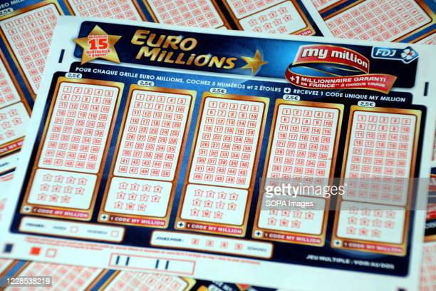 In this photo illustration, Euromillions tickets. A couple from Alsace pocketed the 157 million euros of the Euromillions draw of September 1, 2020.