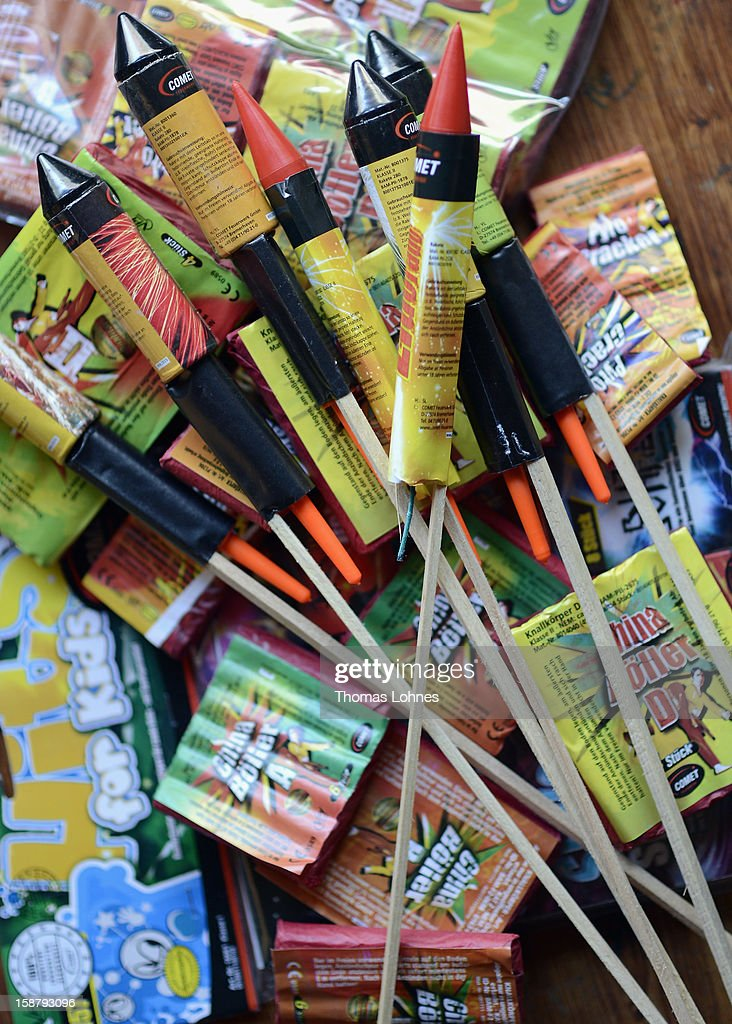 In this photo illustration fireworks are displayed on a table ahead of New Year's Eve celebrations on December 29, 2012 in Frankfurt, Germany. Fireworks sales are prohibited in Germany except for the three days before the new year, and both public and private fireworks displays are a central part of New Year's Eve celebrations.