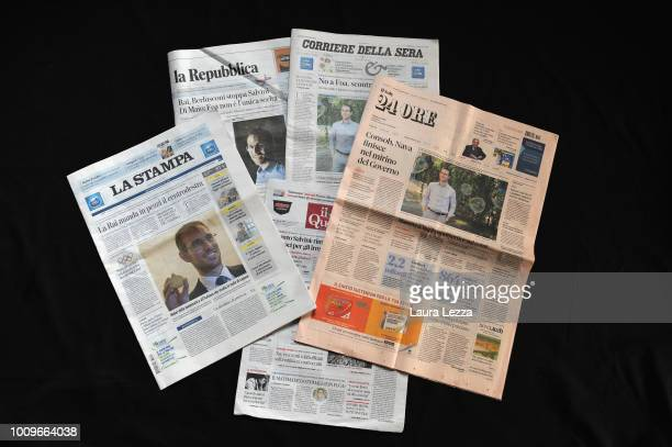 In this photo illustration front covers of Italian newspapers feature news that Italian mathematician Alessio Figalli has been awarded of the Fields...