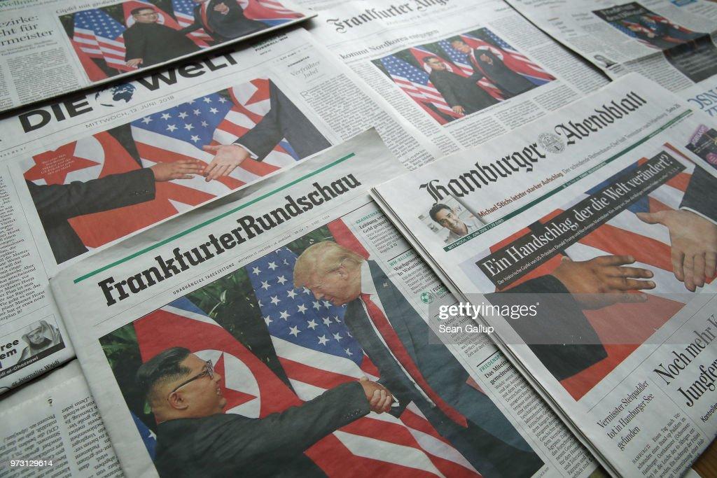 Trump-Kim Meeting Dominates German Newspaper Front Pages : News Photo
