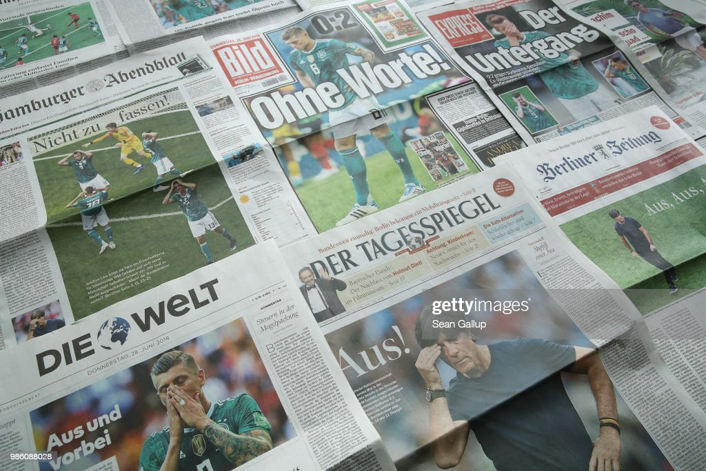 In this photo illustration German newspaper front pages show the German national football team ouster from the World Cup on June 28, 2018 in Berlin, Germany. The German team lost 0:2 against South Korea yesterday after beating Sweden 2:1 but also losing to Mexico 0:1 in the Group F preliminary rounds.