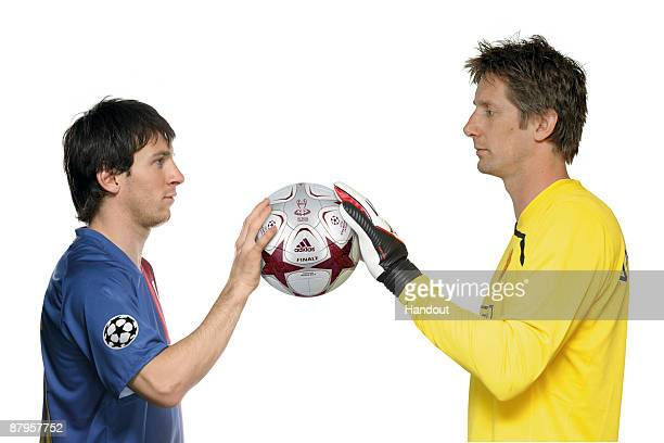 In this photo illustration handout image provided by adidas Lionel Messi of Barcelona and Edwin van der Sar of Manchester United hold the adidas...