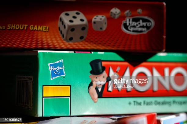 In this photo illustration, Hasbro board games are displayed on February 08, 2021 in San Anselmo, California. Hasbro reported better than expected...