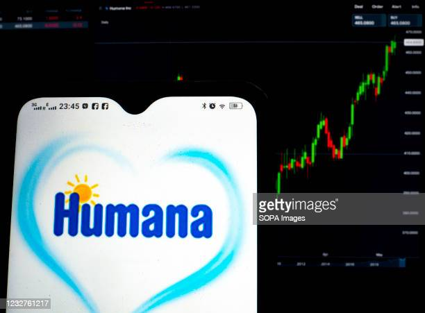 In this photo illustration, Humana Inc. Logo seen displayed on a smartphone with the stock market information of Humana Inc. In the background.