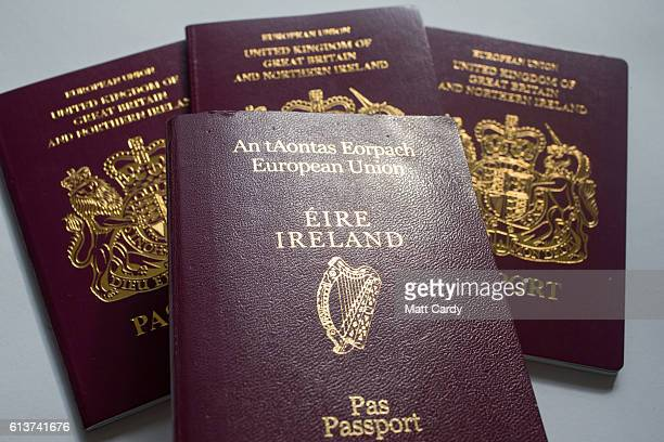 In this photo illustration Irish and UK passports are seen on October 10 2016 in Bath England Since the UK voted to leave the European Union in June...