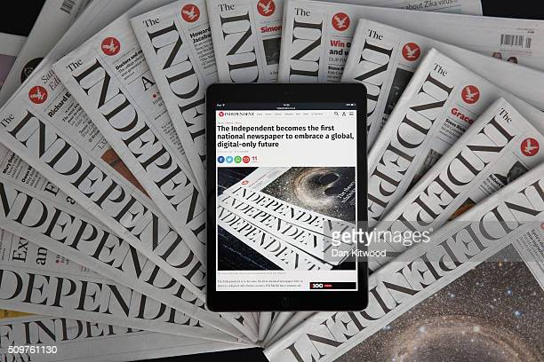 In this photo illustration is an iPad displaying The Independent's online platform above a selection of The Independent newspapers on February 12...
