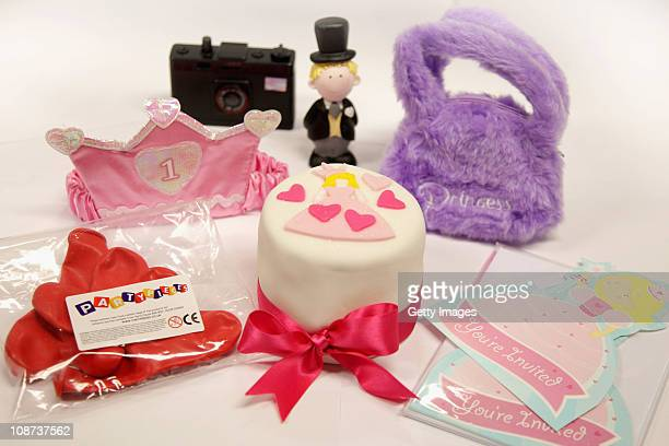 In this photo illustration items from the company Party Pieces are displayed on February 2 2011 in London England Parents of Kate Middleton Michael...