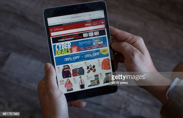 In this photo illustration JCPenny advertise Cyber Monday sales on it's company websites on November 27 2017 in Guttenberg New Jersey Americans are...