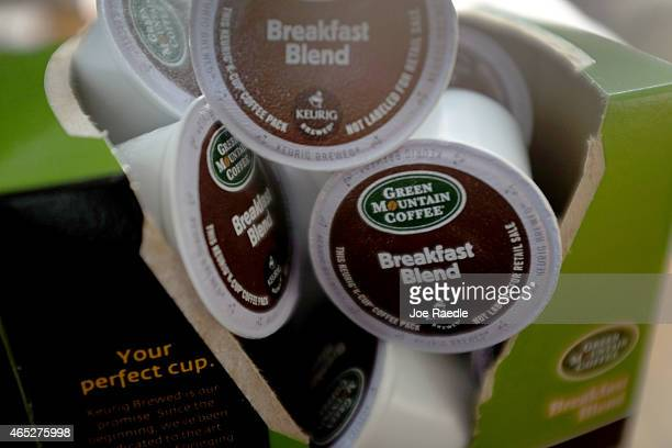 In this photo illustration, Keurig Green Mountain Inc. K-Cup coffee packs are seen on March 5, 2015 in Miami, Florida. John Sylvan the inventor of...