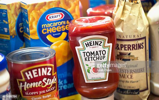 In this photo illustration Kraft and Heinz products are shown on March 25 2015 in Chicago Illinois Kraft Foods Group Inc said it will merge with HJ...
