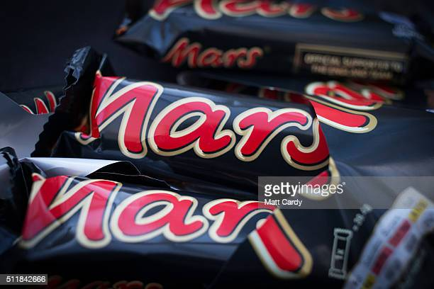 In this photo illustration Mars chocolate bars are seen on February 23 2016 in Bristol England The Mars company which owns both brands has announced...