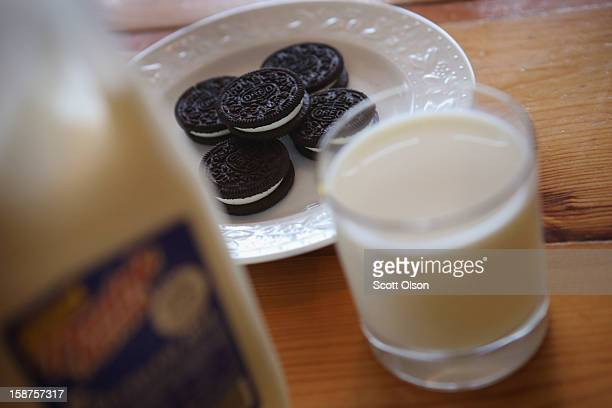 In this photo illustration milk and cookies sit on a counter on December 27 2012 in Chicago Illinois Milk prices could spike to $6 to $8 a gallon in...
