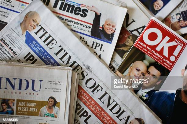 In this photo illustration news of reality television star Jade Goody's death is reported on the fronts of Indian newspapers on March 23 2009 in...