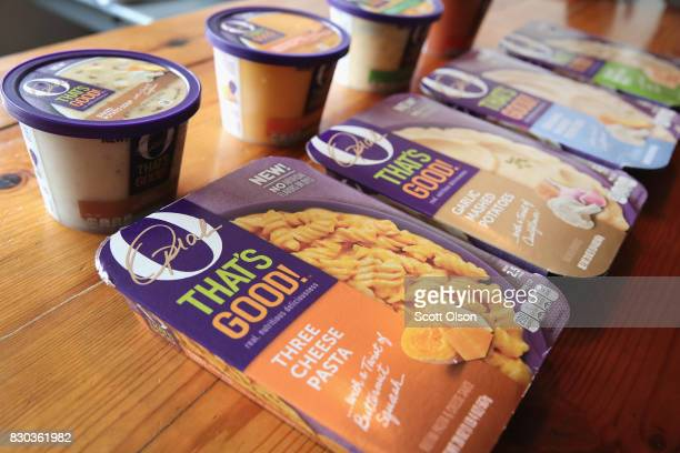 In this photo illustration 'O That's Good' food products introduced by Oprah Winfrey in collaboration with Kraft Heinz are shown on August 11 2017 in...