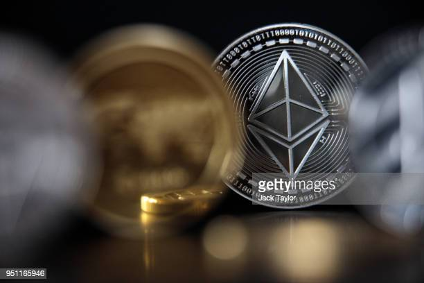 In this photo illustration of the ethereum cryptocurrency 'altcoin' sits arranged for a photograph on April 25 2018 in London England Cryptocurrency...