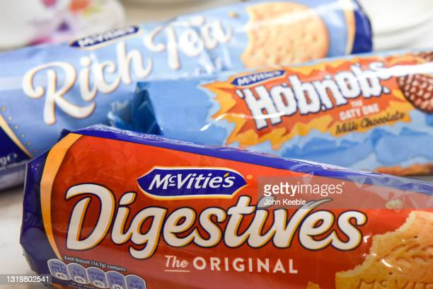 In this photo illustration, Packets of McVitie's Digestives, Hobnob's and Rich Tea biscuits are displayed on May 24, 2021 in Unspecified, United...