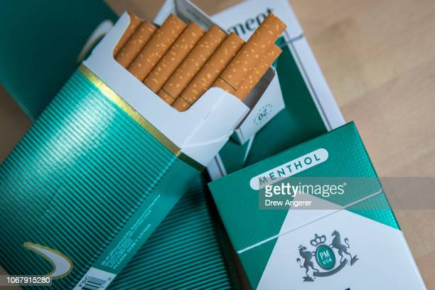 In this photo illustration, packs of menthol cigarettes sits on a table, November 15, 2018 in New York City. The U.S.Food and Drug Administration is...