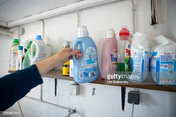 In this photo illustration plaster and detergent are stored on a basement shelf on April 13, 2021 in Bonn, Germany.