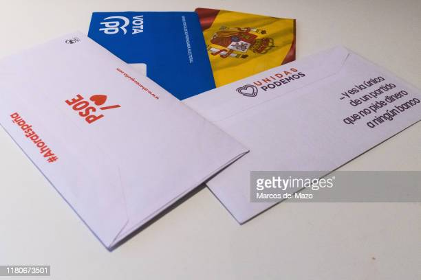 In this photo illustration, postal mail of some of the main Spanish political parties that contains the ballots to vote in the next general elections...