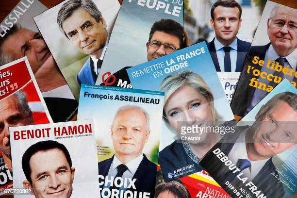 In this photo illustration posters with the electoral program of the eleven candidates in the French presidential election are seen on April 20 2017...
