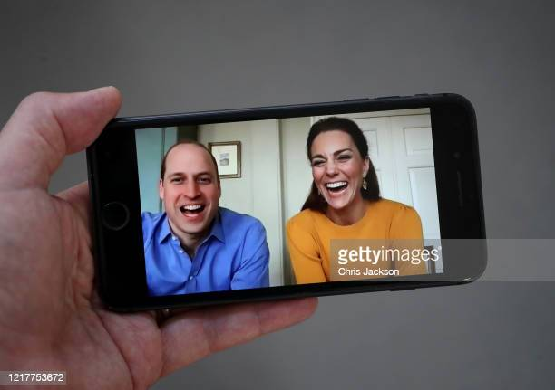 In this photo illustration Prince William, Duke of Cambridge and Catherine, Duchess of Cambridge are seen in conversation with Casterton Primary...