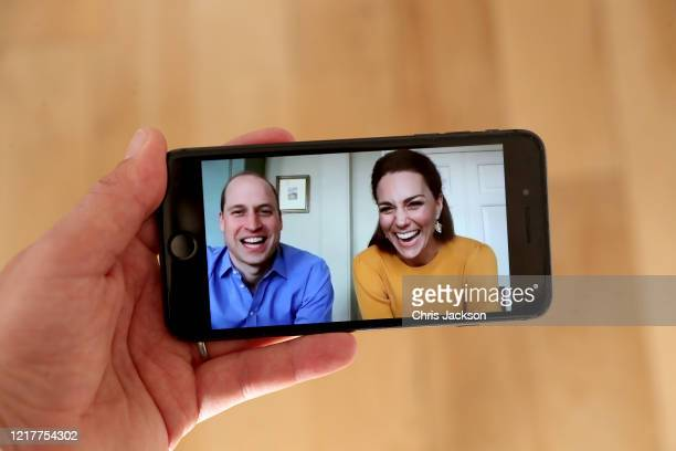 In this photo illustration Prince William Duke of Cambridge and Catherine Duchess of Cambridge are in conversation with Casterton Primary Academy...
