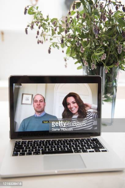 In this photo illustration Prince William Duke of Cambridge and Catherine Duchess of Cambridge have an broadcast interview on BBC Breakfast regarding...